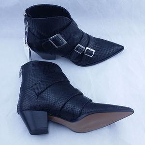 Zara Black Leather Ankle Boot SZ 6 Snake Pattern